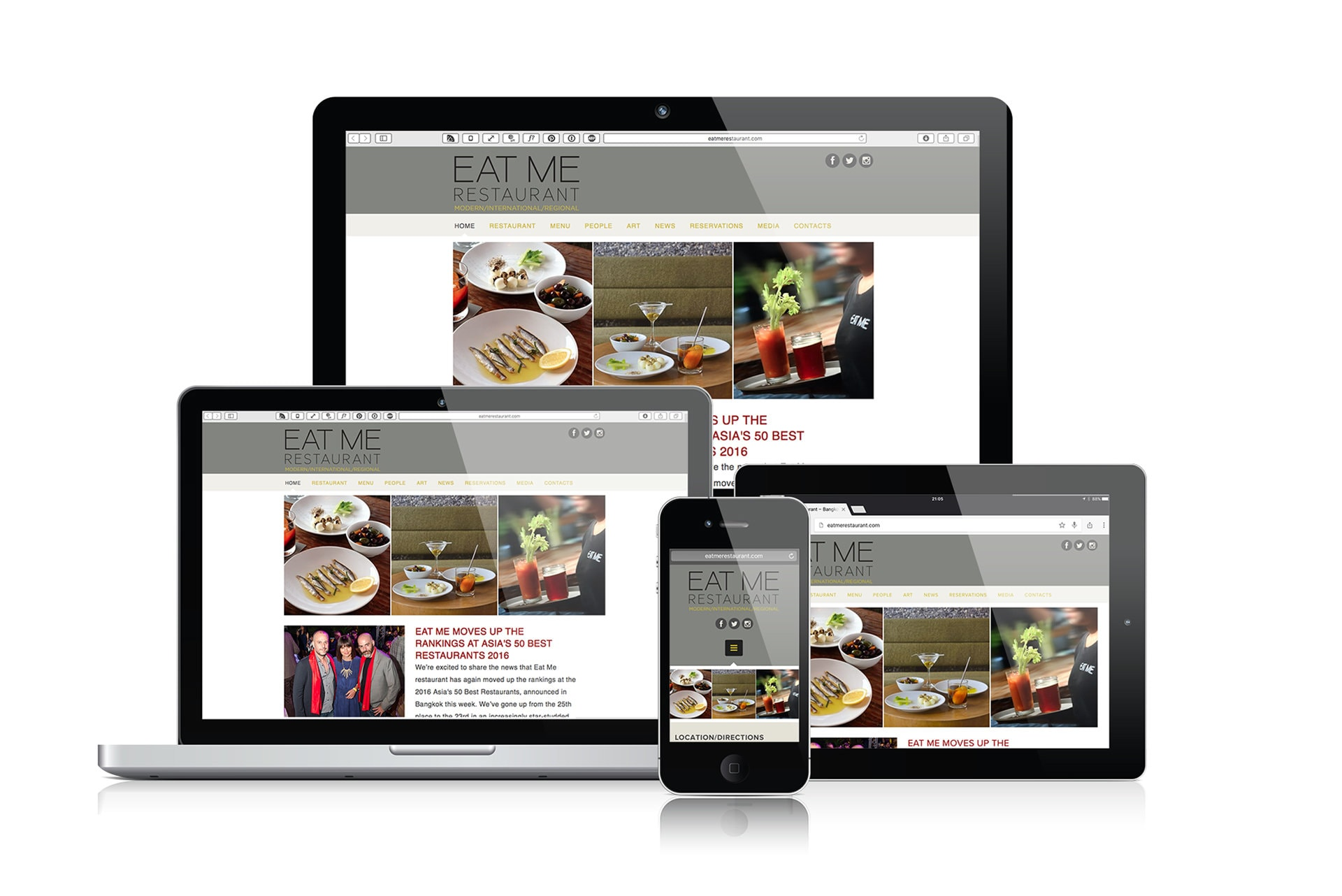 Eat Me Restaurant, Bangkok. Web Design & Development by Grantourismo Media, a Full Service Digital Media Agency.